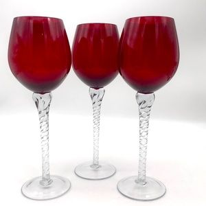 Artisan Made Red Wine Glass Goblets Twisted Stems
